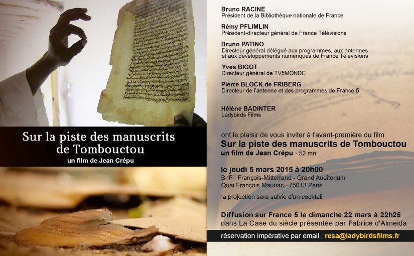Diffusion Sur la piste des manuscrits de Tombouctou sur France 5